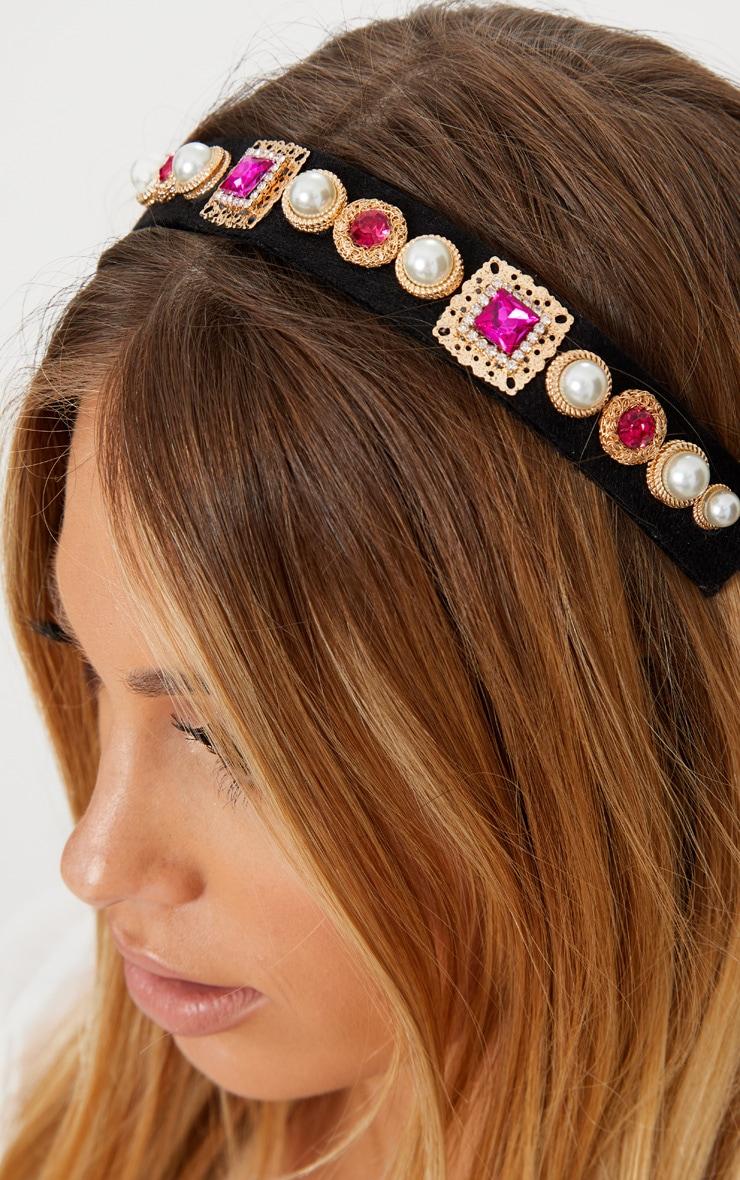 Pink Embellished Elastic Headband 1