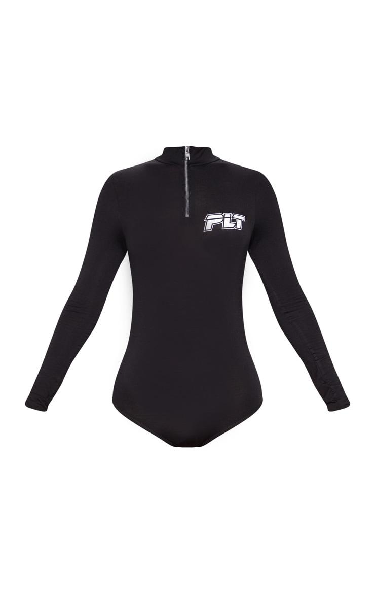 PRETTYLITTLETHING Black Slogan Zip Up Long Sleeve Bodysuit 3