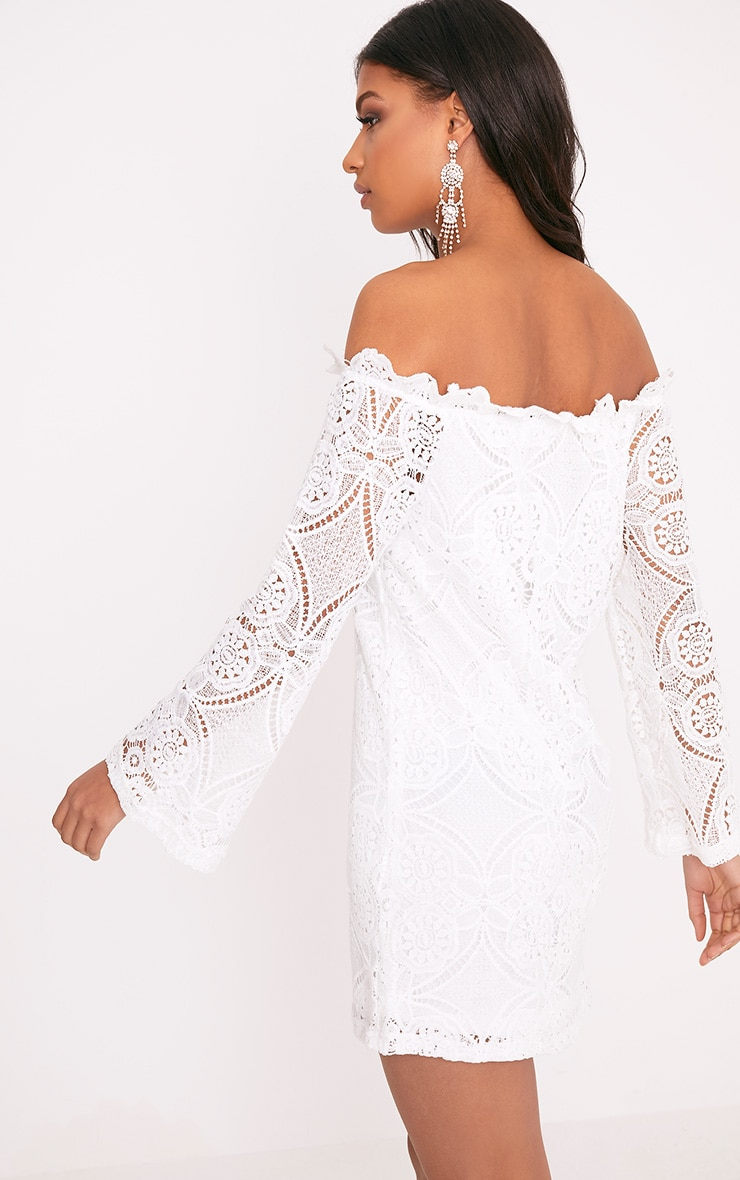 Gracie White Bardot Lace Swing Dress 2