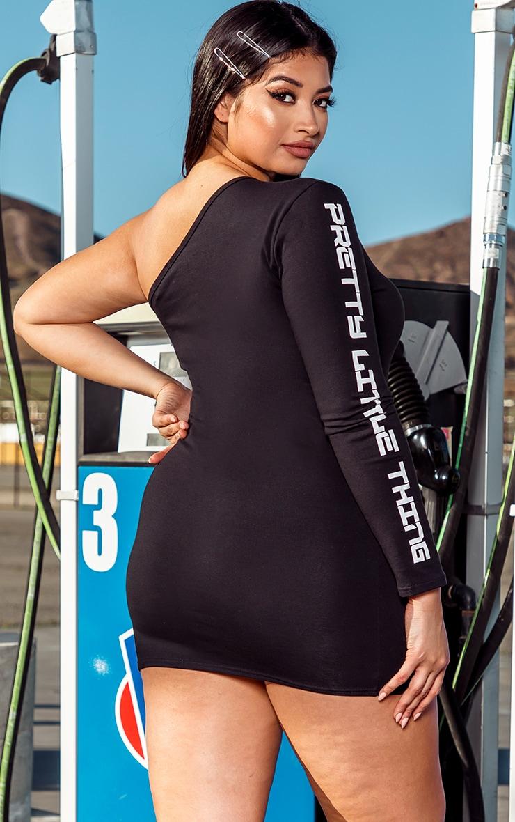 PRETTYLITTLETHING Plus Black One Shoulder Bodycon Dress 2