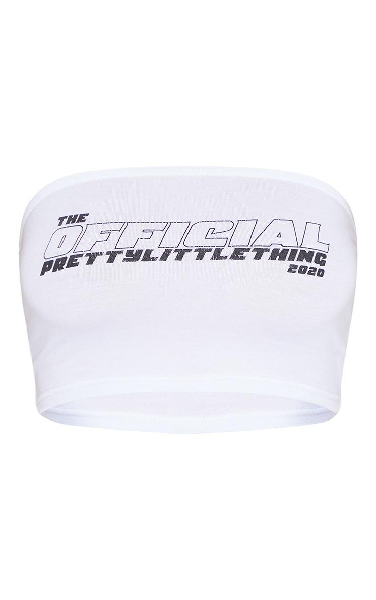 PRETTYLITTLETHING - Crop top bandeau blanc à slogan The Official 5