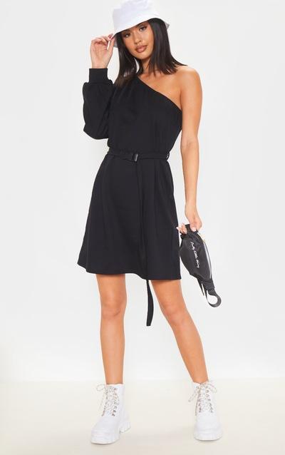 Black One Shoulder Belted Jumper Dress