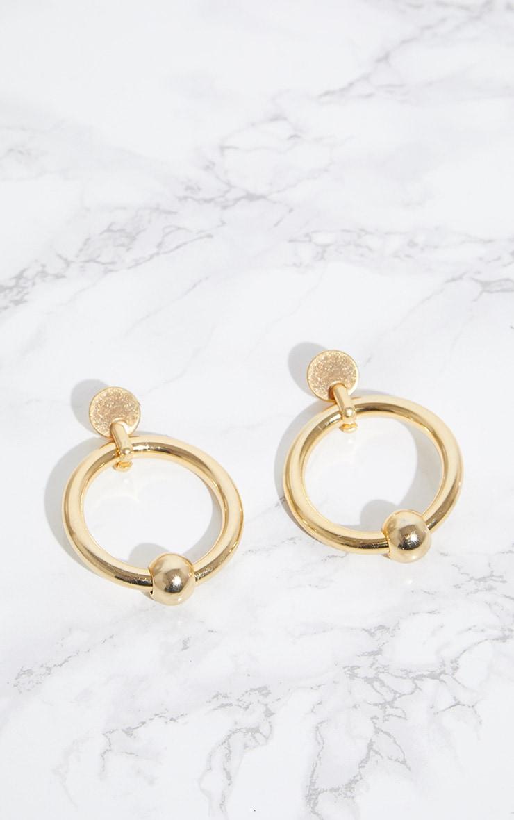 Gold Ball Hoop Earrings 3