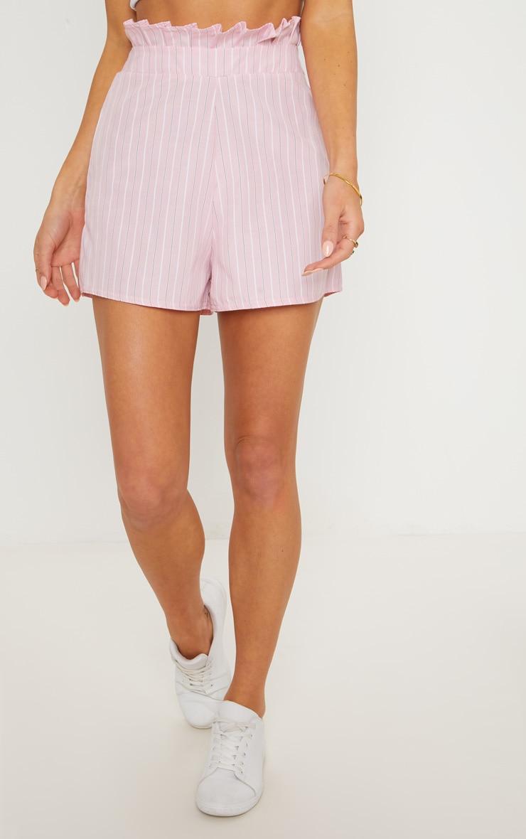 Pink Gathered Waist Pinstripe Short 2