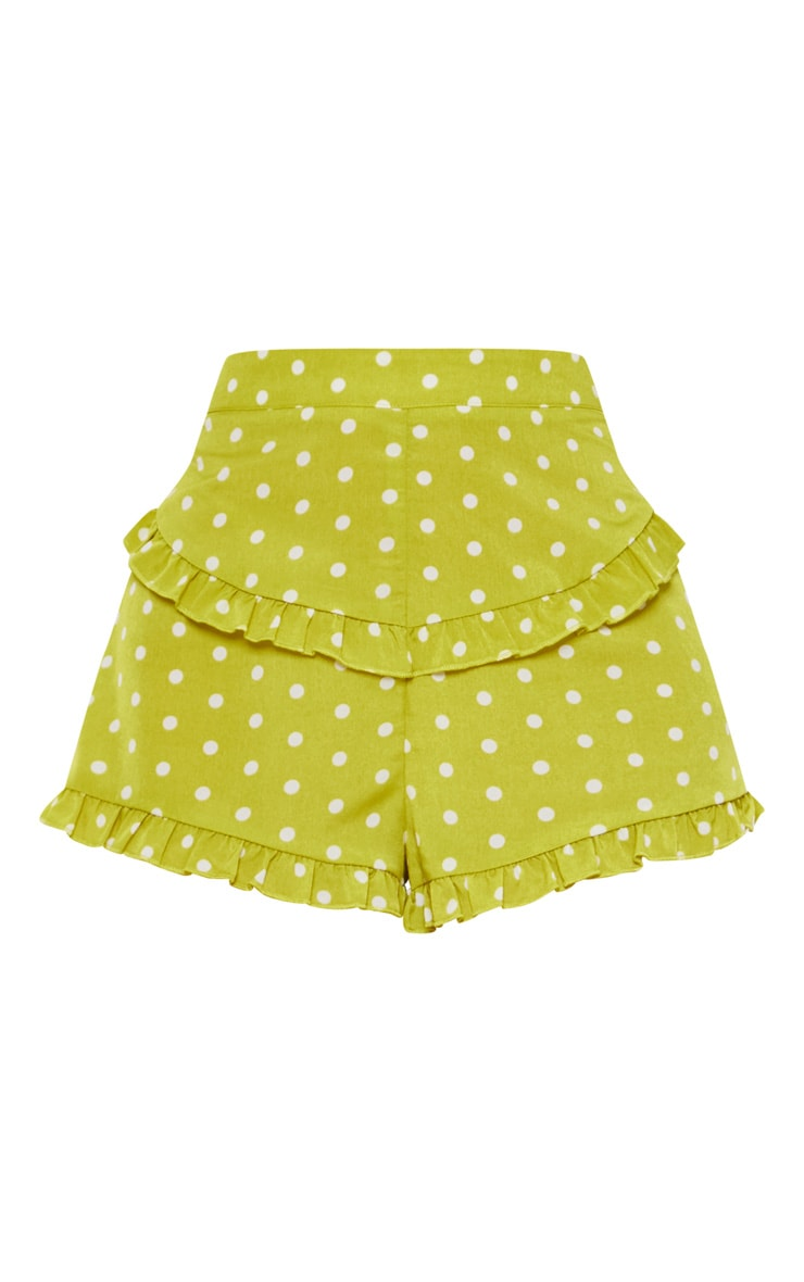 Lime Polka Dot Frill Trim Shorts 3