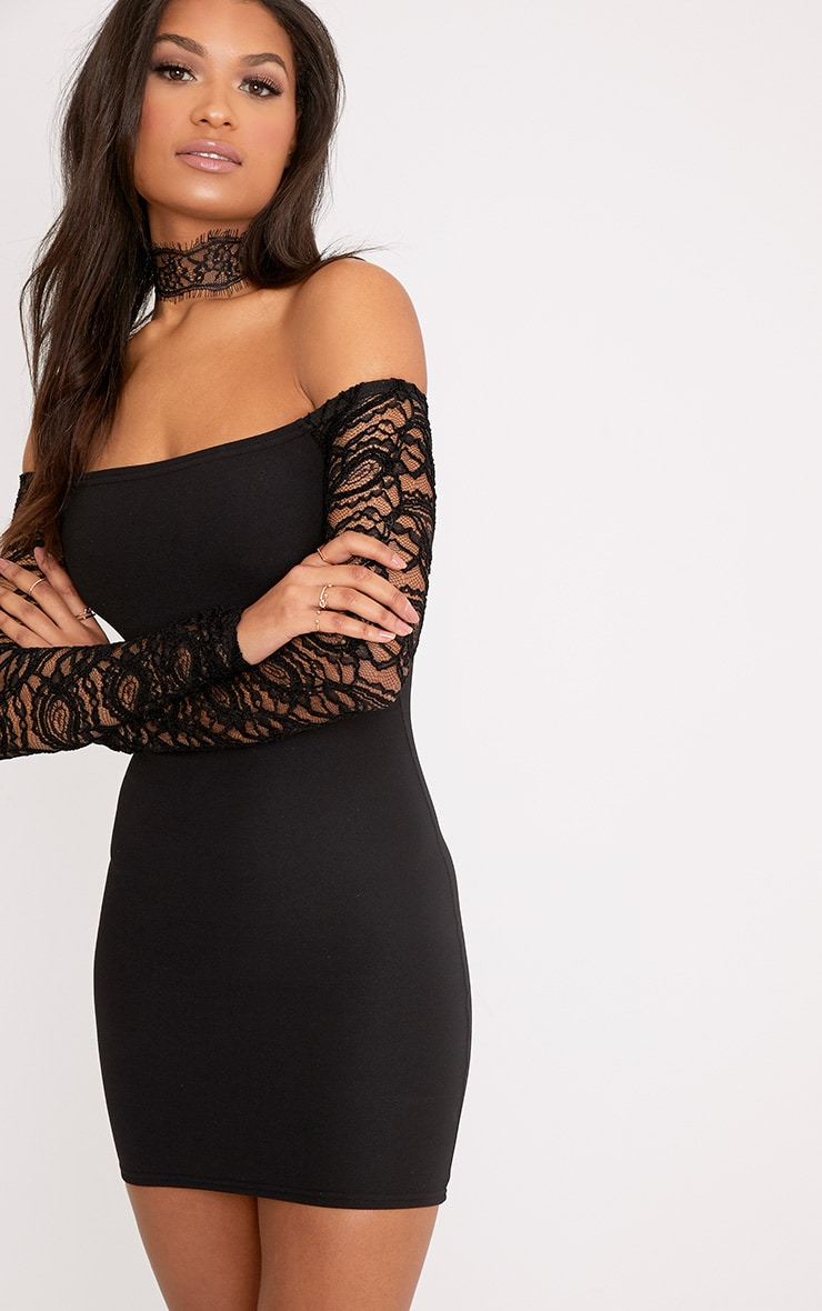 Larsia Black Lace Sleeve Bardot Bodycon Dress ...