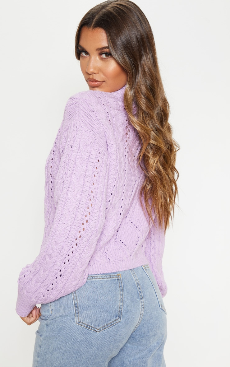 Lilac Cut Out Detail Roll Neck Jumper 2