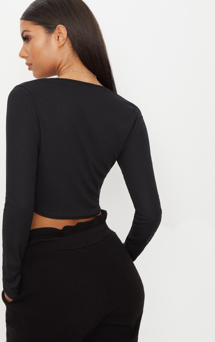 Black Rib Popper Front Long Sleeve Crop Top  2