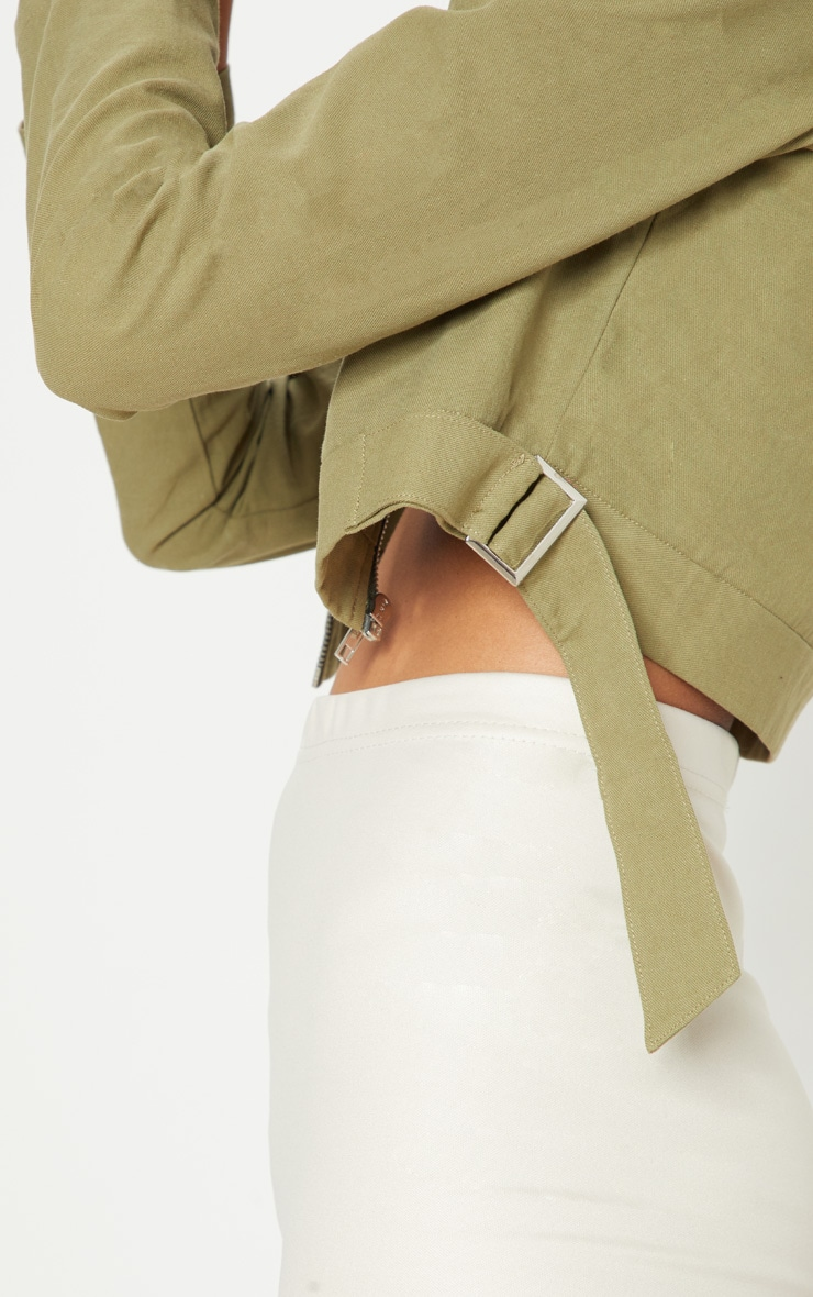 Khaki Cropped Trucker  5