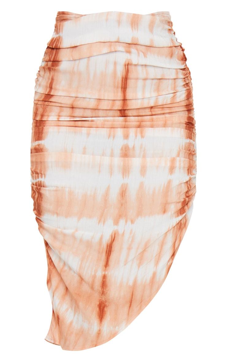 Orange Tie Dye Ruched Midi Skirt 5