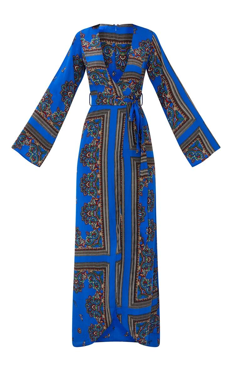 Robe kimono longue bleu cobalt à imprimé géométrique 3