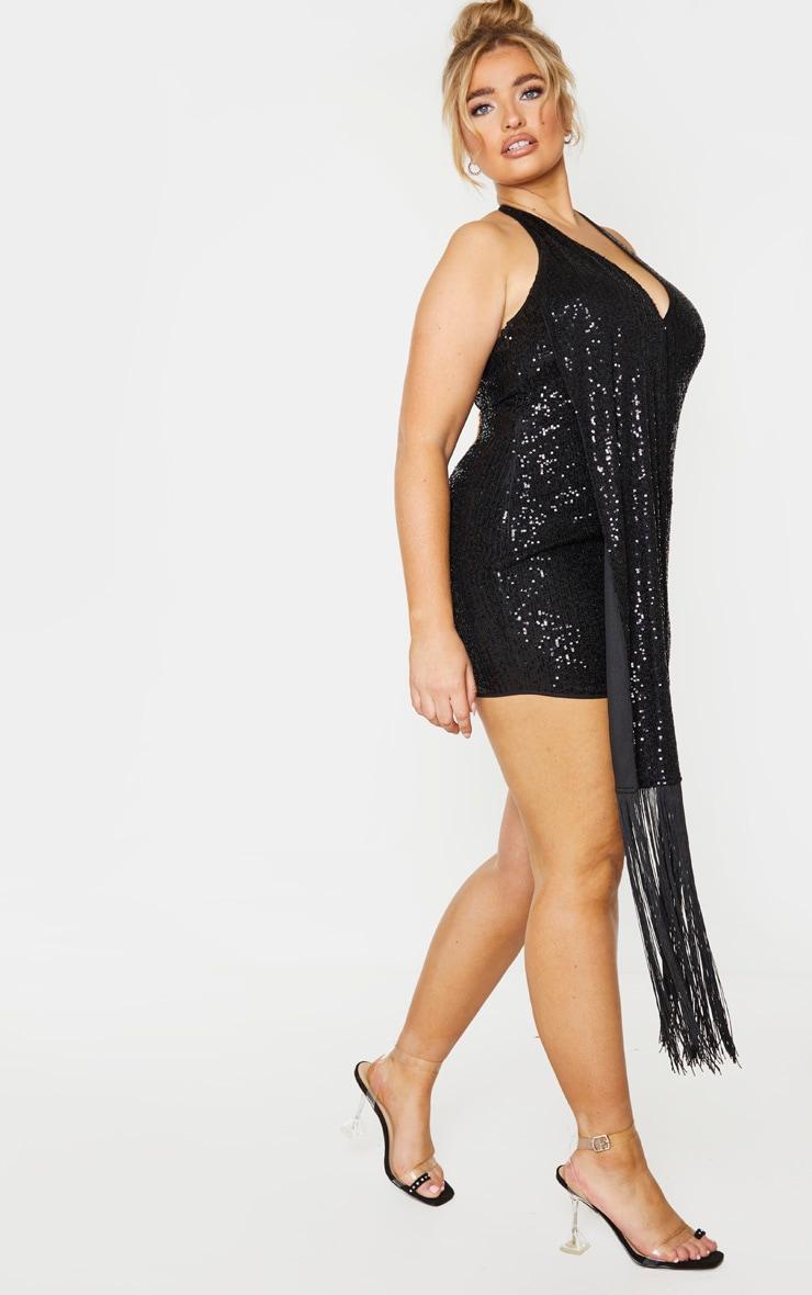 PLT Plus - Robe moulante drapée noire à sequins et dos nu 3