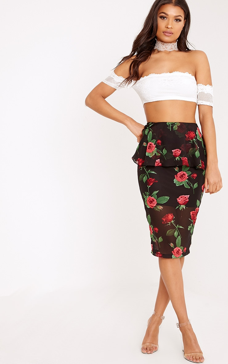 Jayne Black Frill Waist Dark Floral Midi Skirt  1