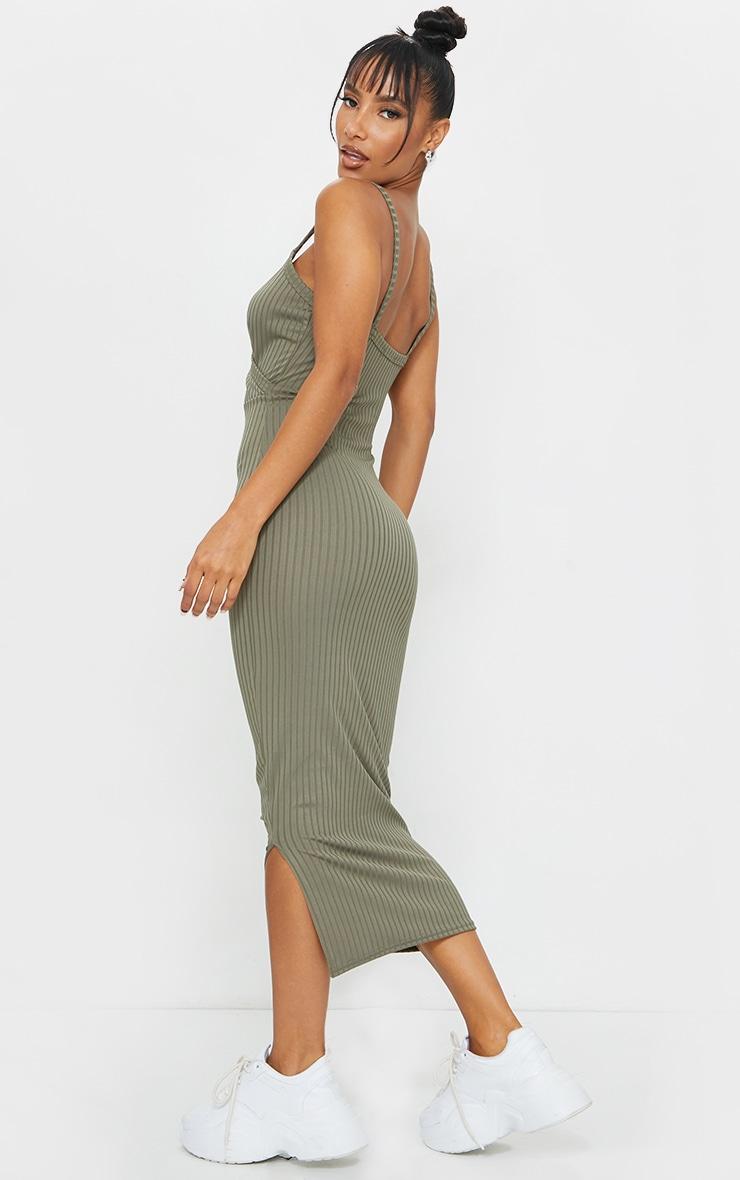 Olive Khaki Ribbed Wrap Front Strappy Midi Dress 2