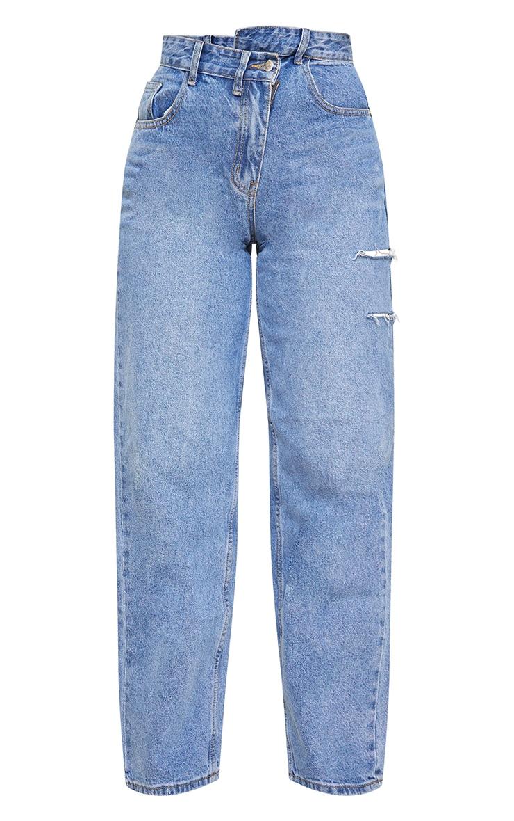 Tall Light Blue Wash Baggy Low Rise Asymmetric Waistband Thigh Split Boyfriend Jeans 5