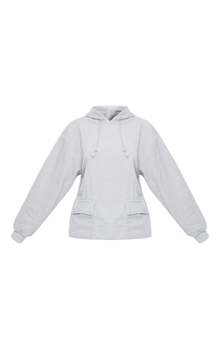 Grey Fleece Oversized Pocket Sweatshirt 5