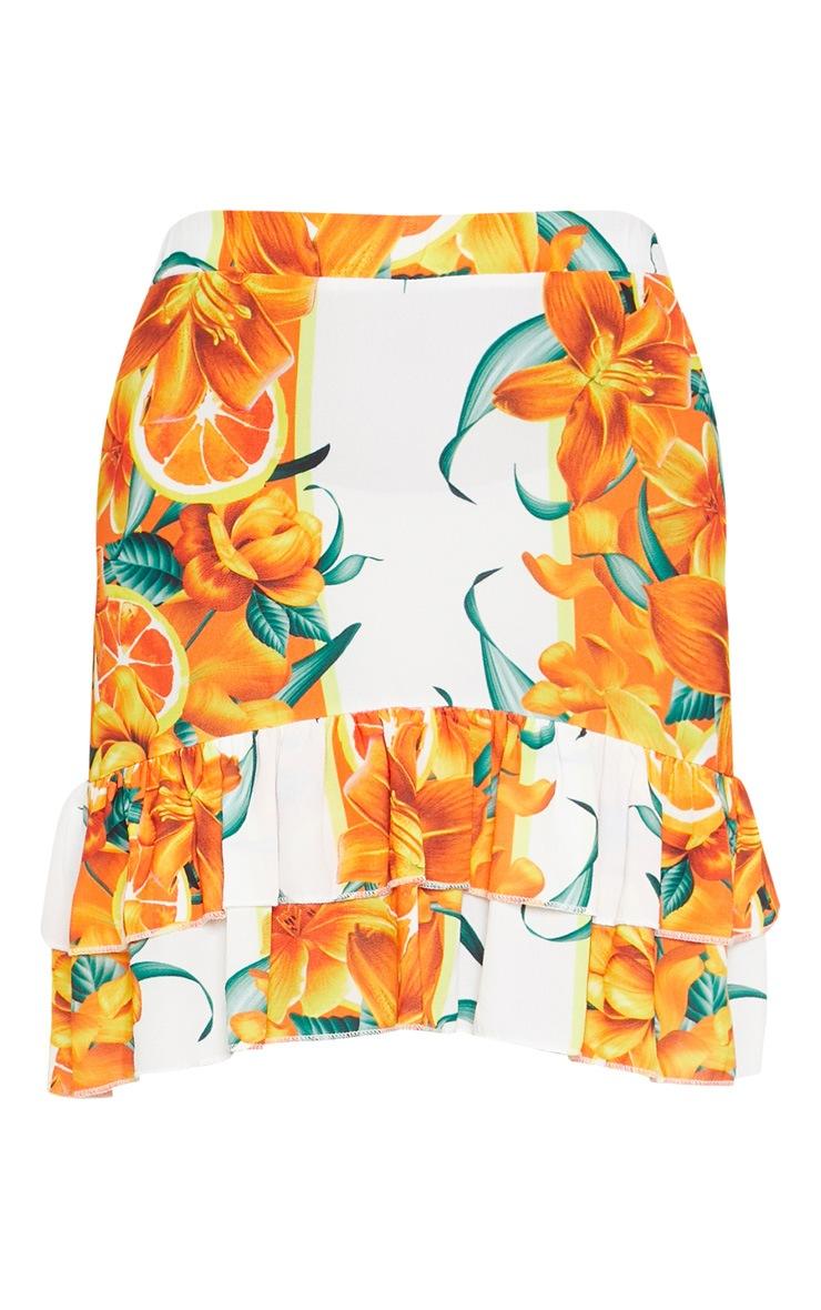 Orange Print Pebble Crepe Frill Hem Mini Skirt 3