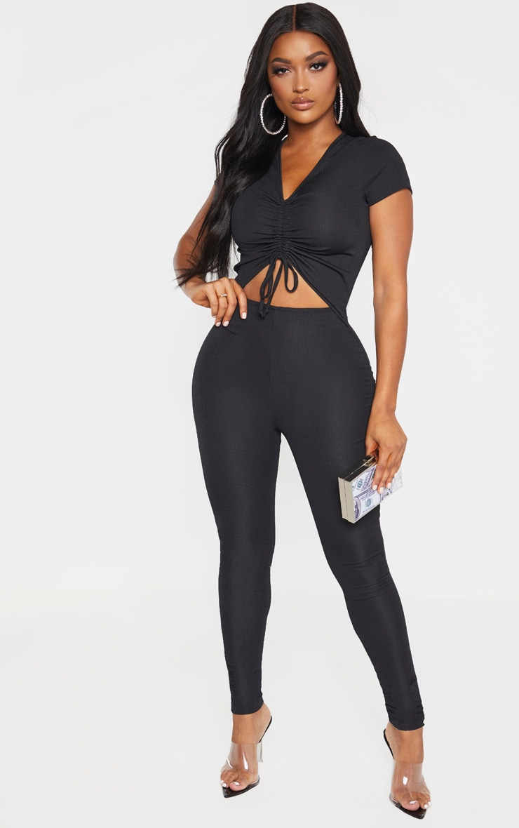 Shape Black Ribbed Ruched Cut Out Jumpsuit 1