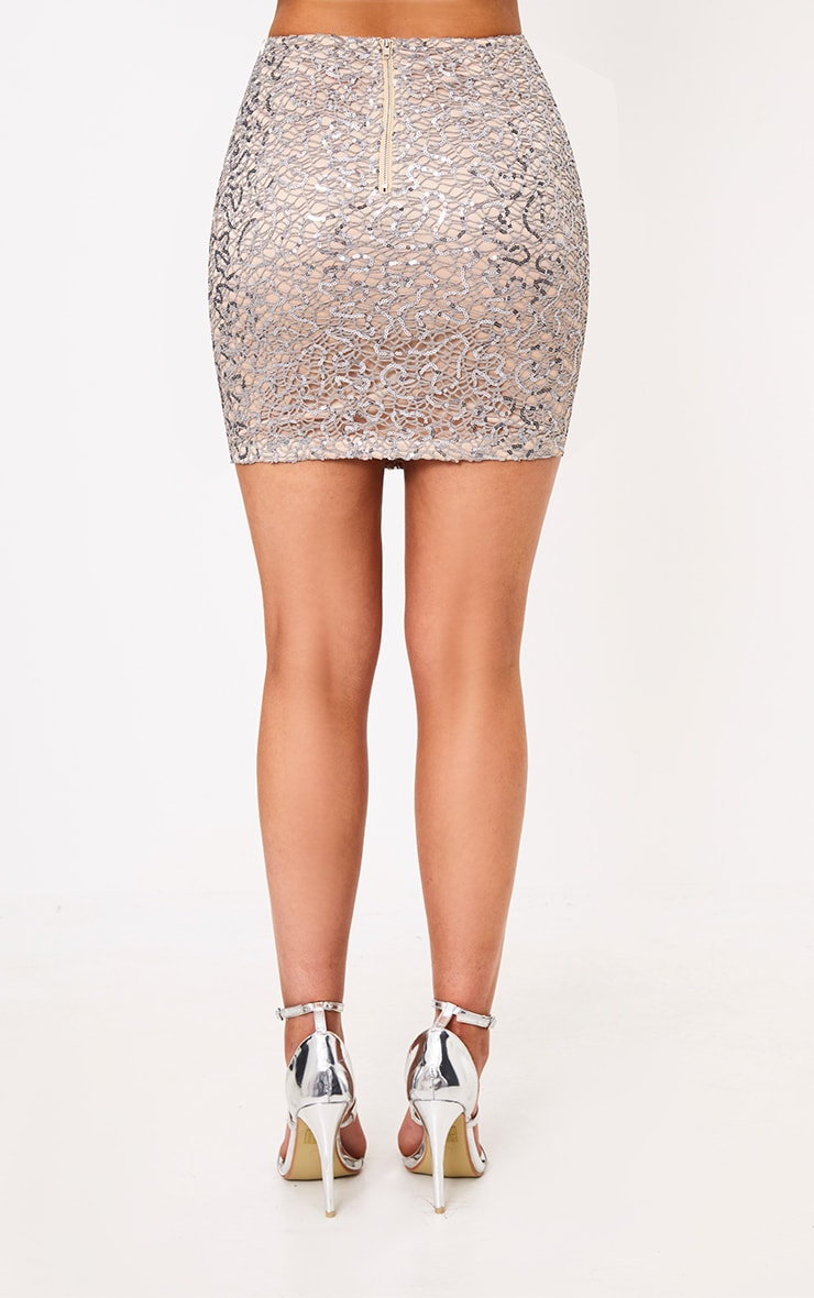 Rosaria Grey Sparkle Web Lace Mini Skirt 4