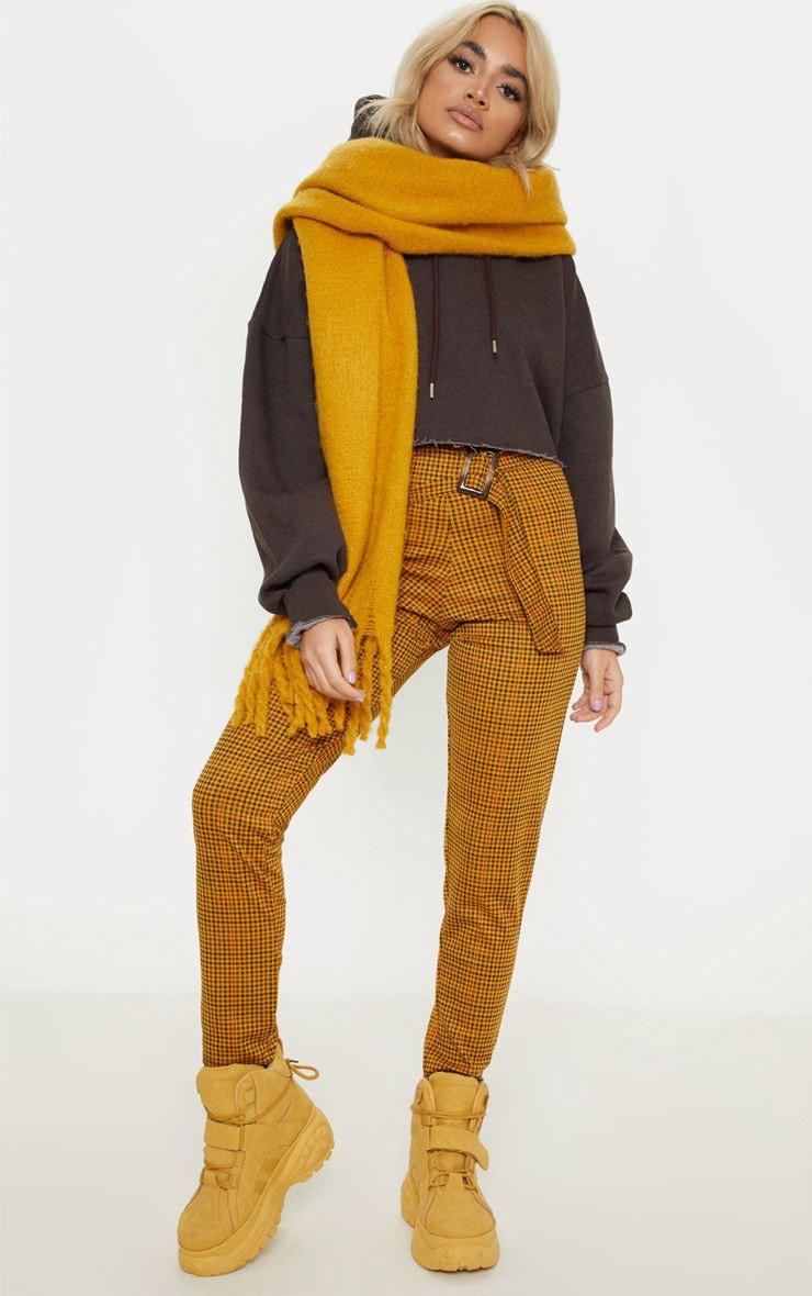 Petite Mustard Checked Rectangle Tortoise Belt Trousers 1