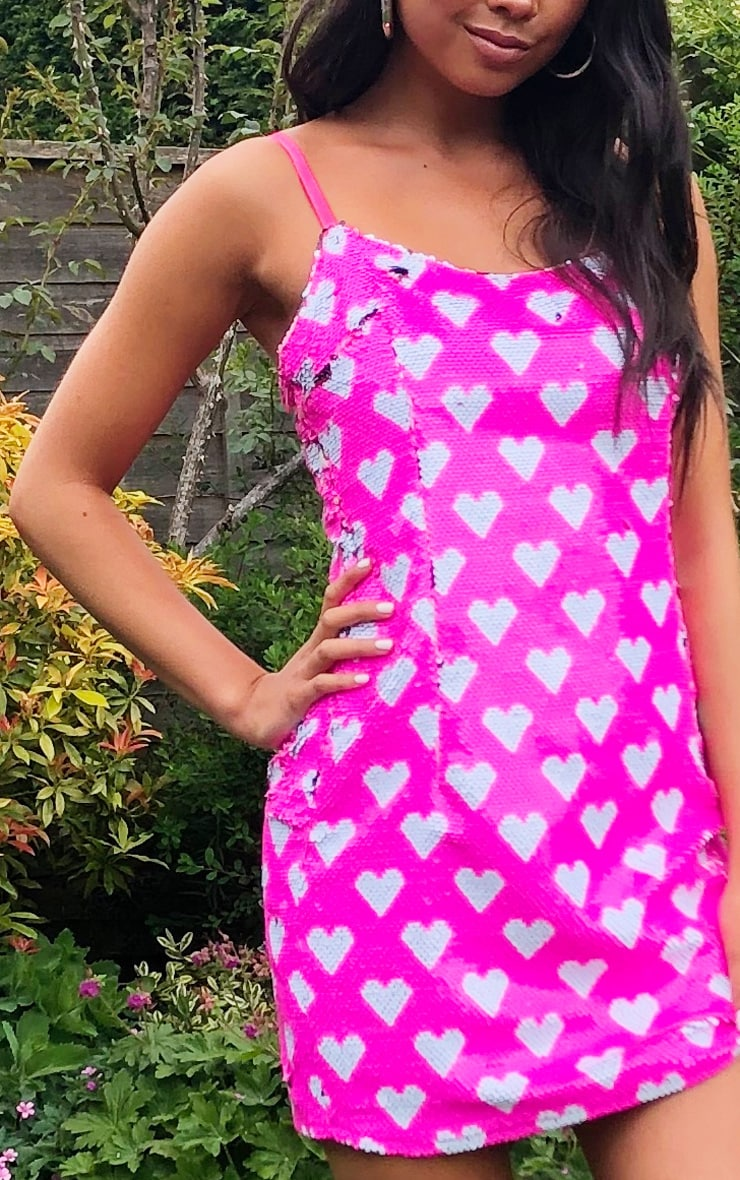 Pink Love Heart Sequin Strappy Bodycon Dress 4