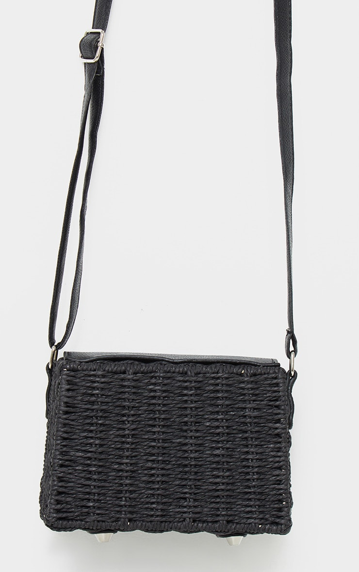 Black Square Structured Straw Cross Body Bag 3