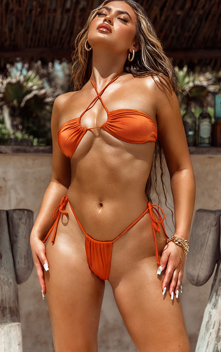 Orange Tie Back Adjustable Mini Bikini Top 1