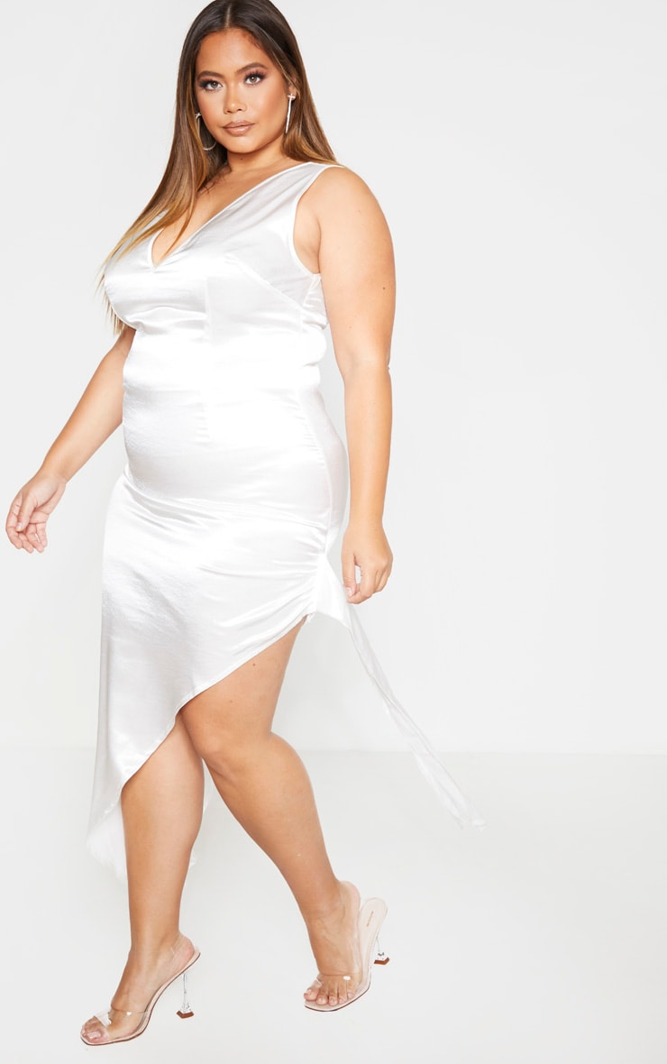 Plus White Satin Curved Hem Midaxi Dress 4