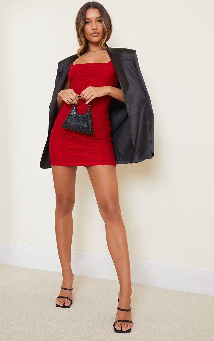 Red Square Neck Mesh Ruched Binding Detail Bodycon Dress 3