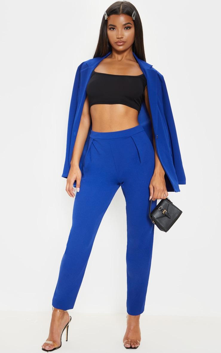 Pantalon cigarette en crêpe bleu 1