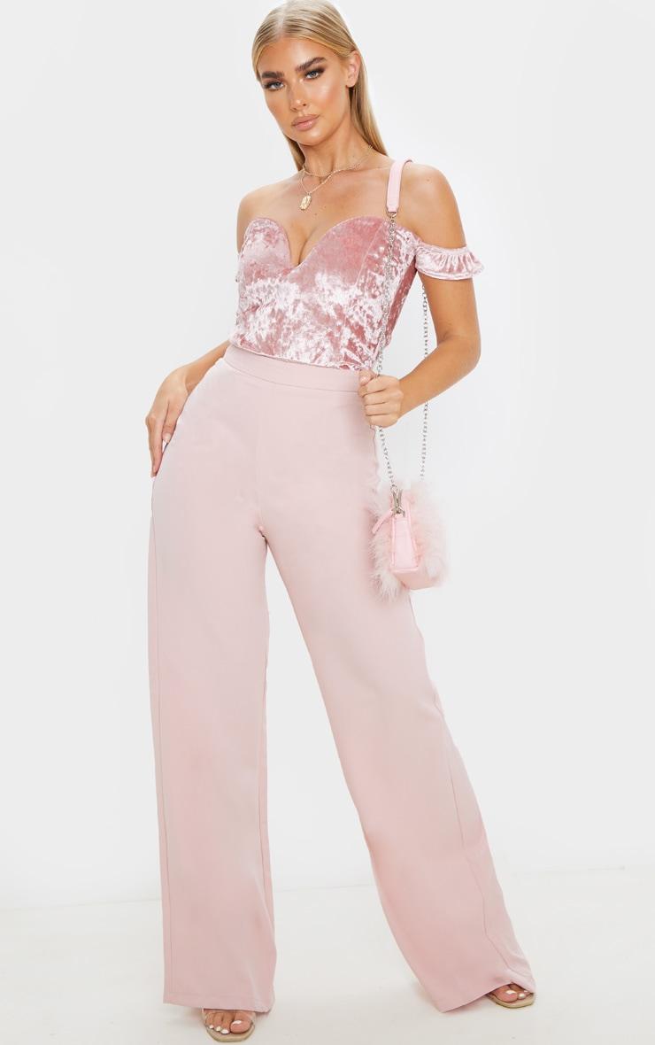 Pink Crushed Velvet V Wire Bardot Bodysuit 5