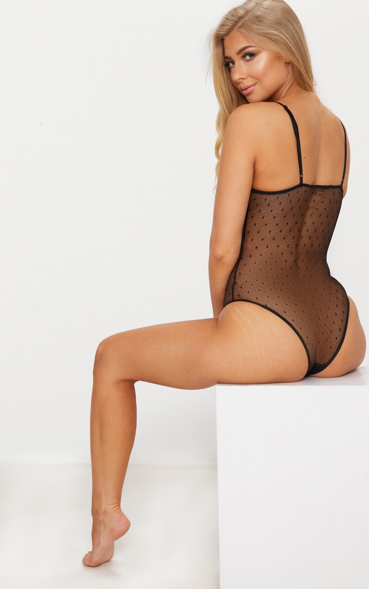 Black Floral Lace & Dobby Mesh Cup Detail Body 2