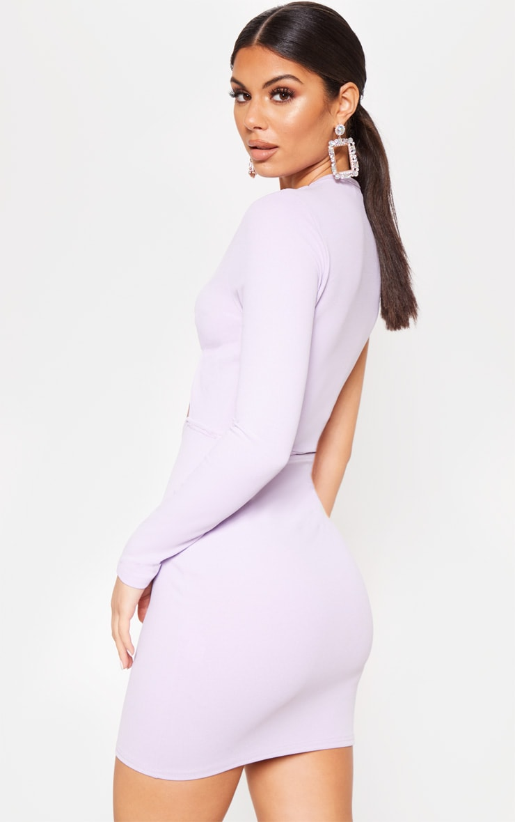 Lilac Asymmetric Knot Detail Cut Out Bodycon Dress 2