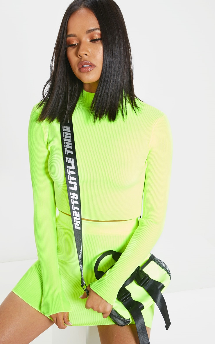 Neon Yellow Ribbed Knitted Top 5