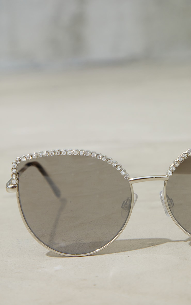 Jeepers Peepers Silver Diamante Brow Bar Cat Eye Sunglasses 3