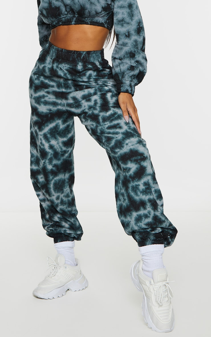 Shape Black Tie Dye Chicago Embroidered Bum Joggers 3