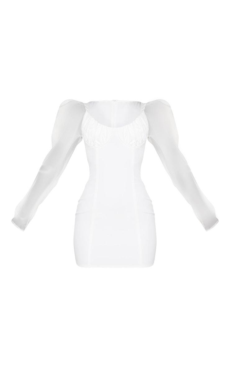 White Organza Sleeve Underwired Bust Bodycon Dress 5