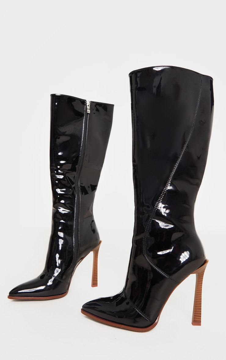 Black Knee High Vinyl Zip Boots 3
