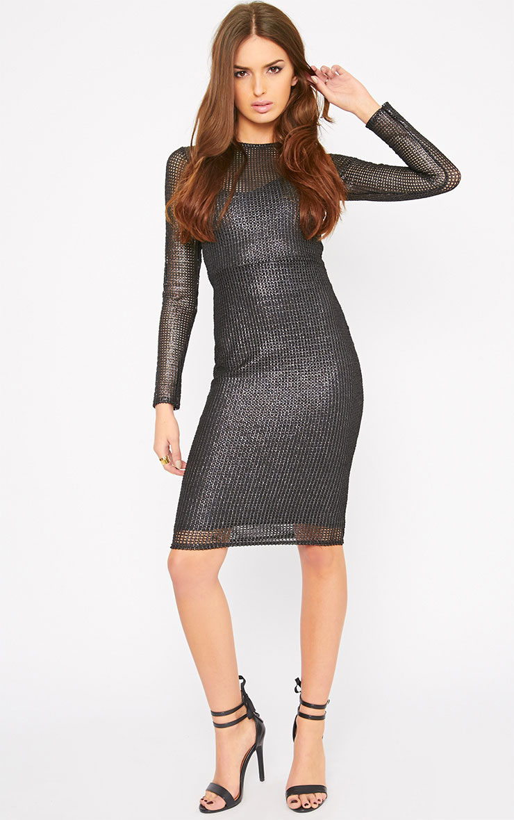 Delphia Black Net Midi Dress 5