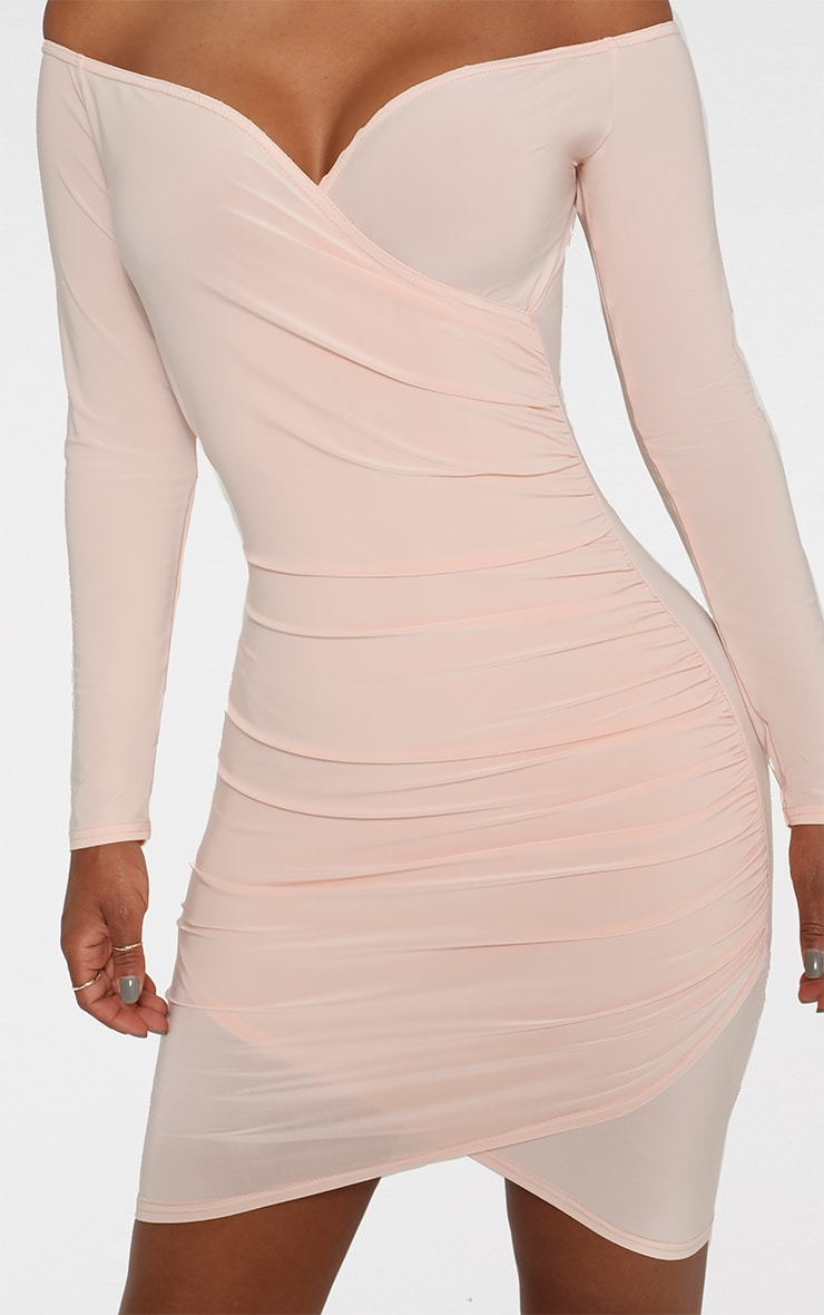 Shape Nude Slinky Ruched Detail Bardot Dress  4