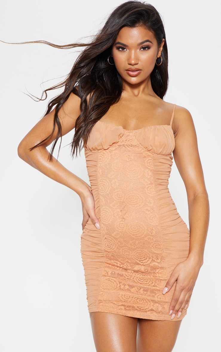 Camel Mesh Lace Insert Ruched Bodycon Dress 4