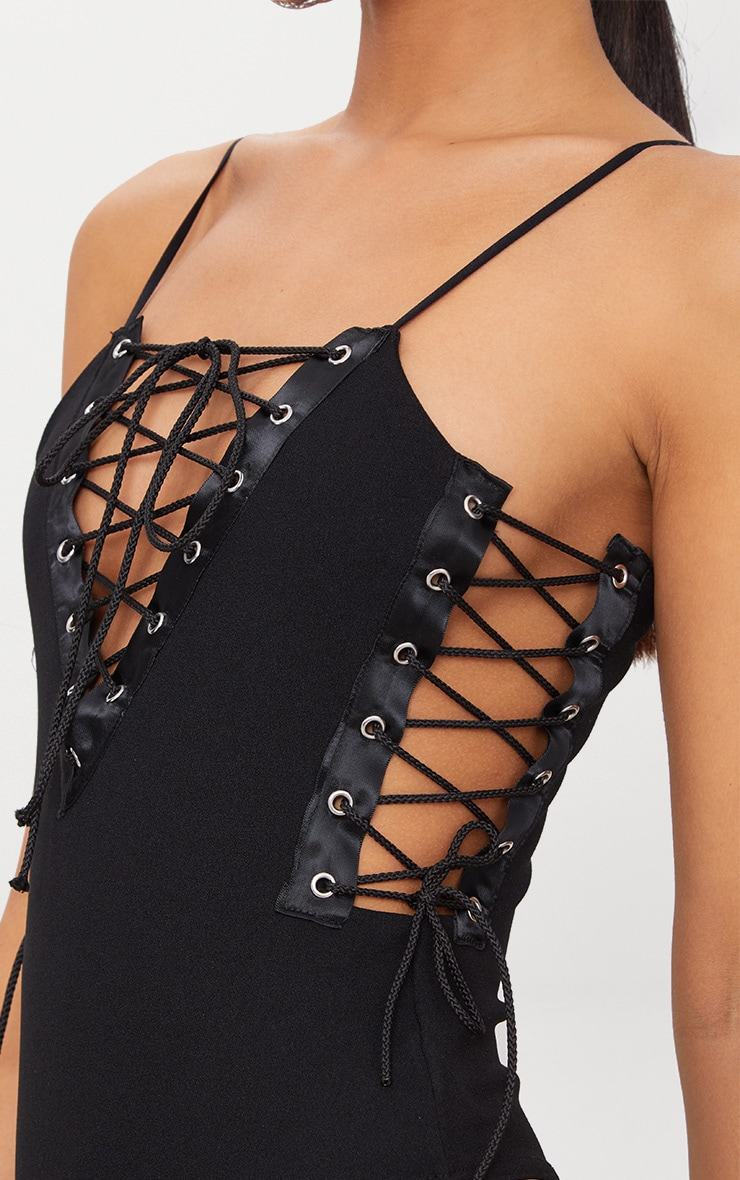 Black Lace Up Strappy Thong Bodysuit 6