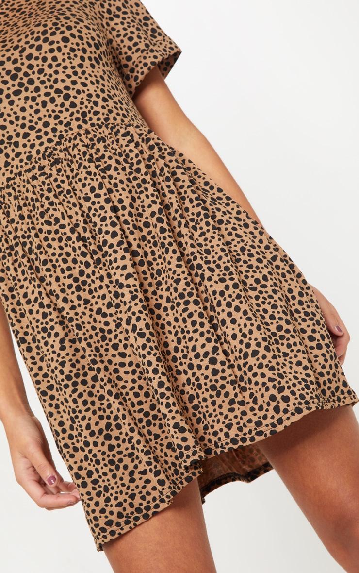 Beige Dalmatian Print Short Sleeve Smock Dress 5