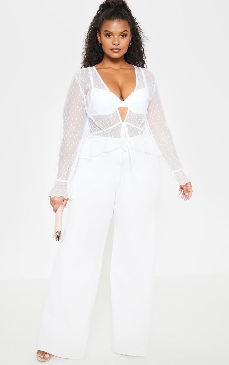 Plus White Dobby Mesh Sheer Tie Front Blouse 4