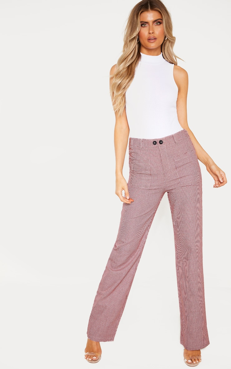 Tall Burgundy Check Square Pocket Straight Leg Trouser 1