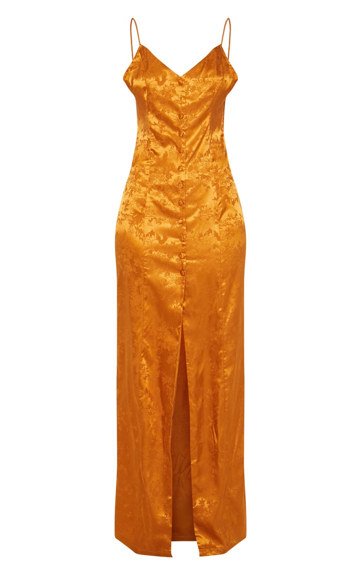 Mustard Jacquard Button Detail Maxi Dress 3