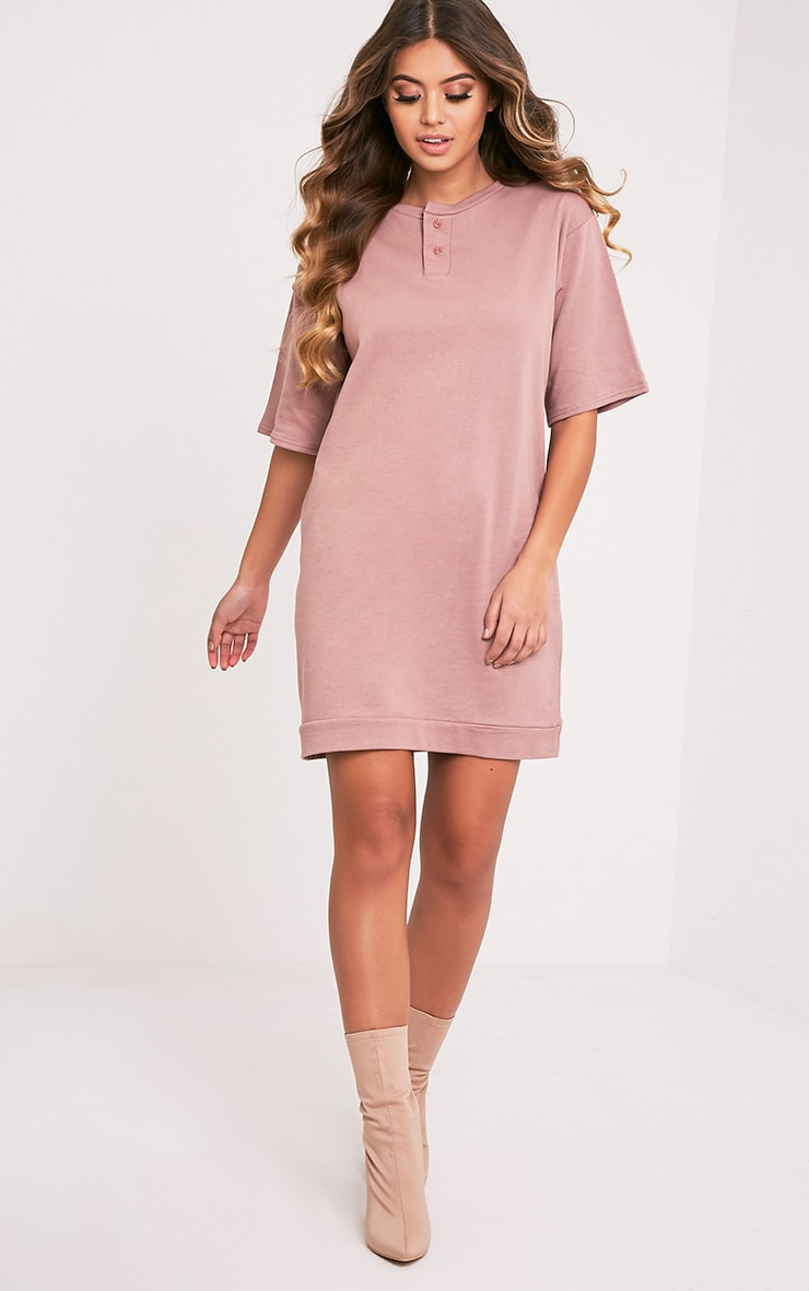 Anabelle Dark Mauve Button Up Sweater Dress 5