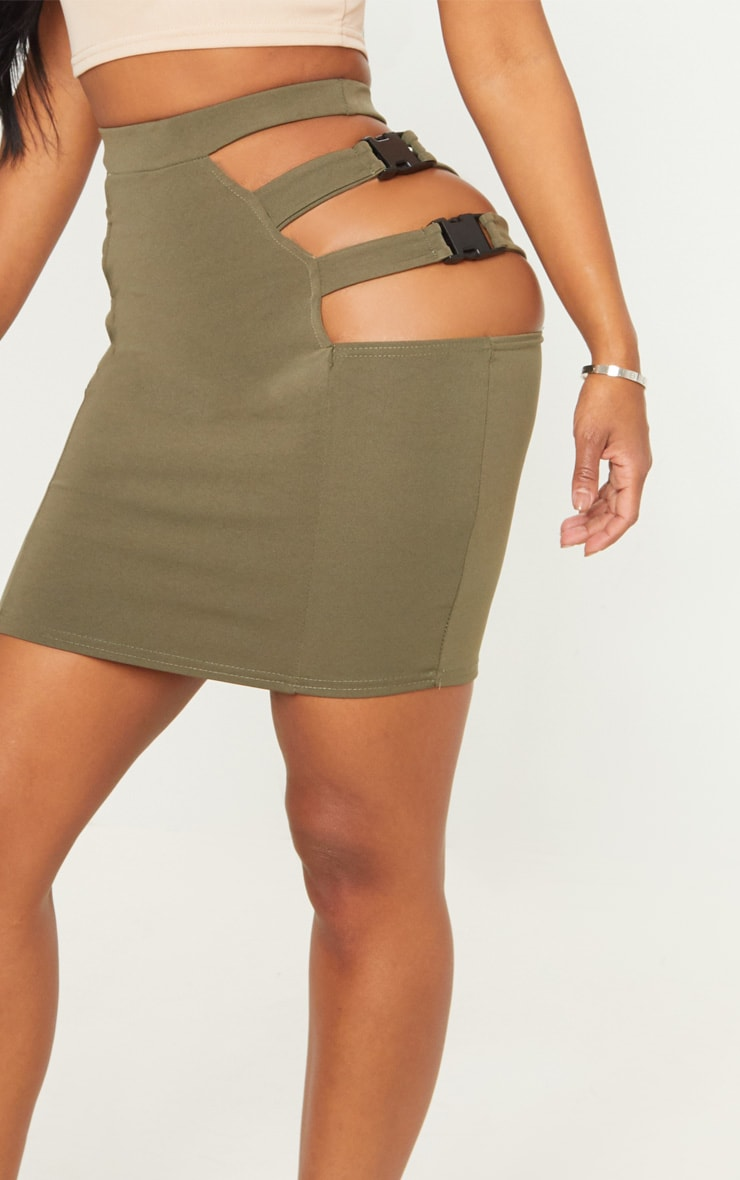Shape Khaki Extreme Cut Out Buckle Detail Bodycon Skirt 4