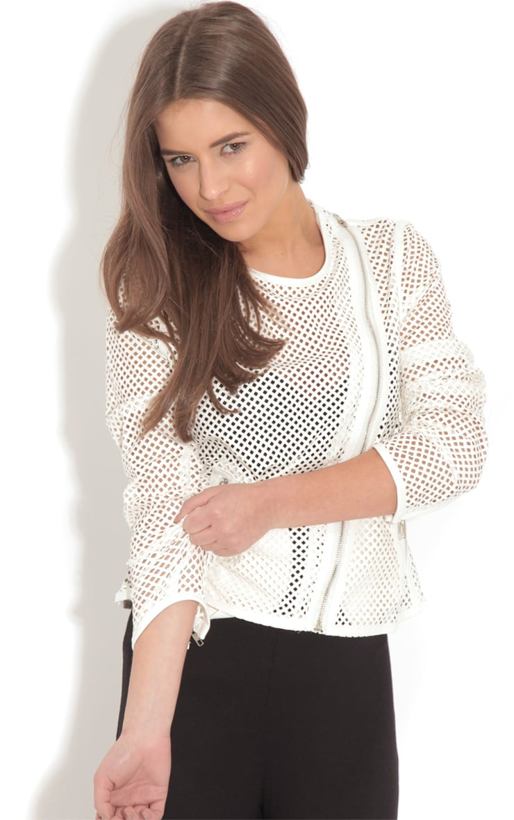 Donna White Leather Laser Cut Jacket 4