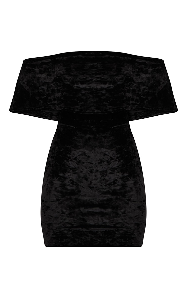 Black Crushed Velvet Bardot Frill Bodycon Dress  3